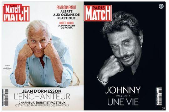 PARIS MATCH JEAN D'ORMESSON ET JOHNNY HALLYDAY